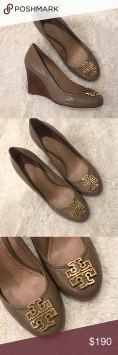 Tory Burch Taupe Wedges Tory Burch Taupe Wedges - Worn Once to an office meeting. Realized that I wanted an open toe wedge but I can't return now. - No Box sorry Tory Burch Shoes Wedges