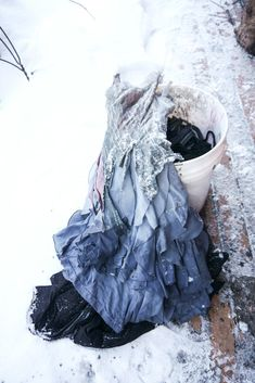 faery dress after a dyebath in the snow