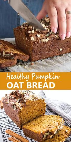 This Healthy Pumpkin Oat Bread is moist and delicious and packed with real pumpkin, applesauce, and whole grain oats! It's moist and delicious, and perfect for fall! Healthy Pumpkin Bread, Baked Pumpkin, Pumpkin Recipes, Baking Recipes, Snack Recipes, Bread Recipes, Healthy Desserts, Healthy Recipes, Healthy Food