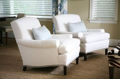 {Trove Interiors} Cream chairs with a secret: Indoor-outdoor fabric stands up to a home with children.