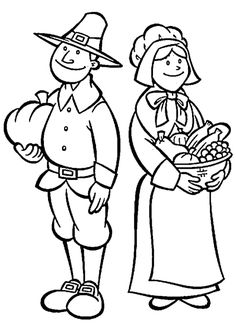 Pilgrim Thanksgiving Coloring Pages Free