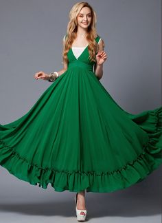 Elegant emerald green maxi dress (green prom dress) fabricated from sheer chiffon, featuring V neck, angled waist yoke, contrast colored white lace tr