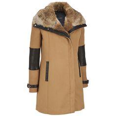 Andrew Marc Asymmetrical Zip Wool Walker w/Fur Collar Was: $1,100.00                     Now: $999.99
