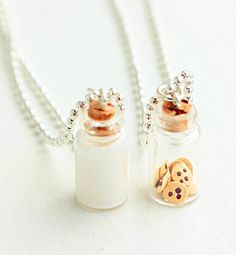 Milk and Cookies Best Friends Necklace, Best Friends Jewelry, Miniature Food Necklace, Food Jewelry