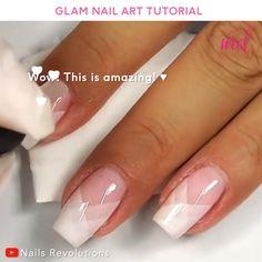 Nail Art Designs Videos, Nail Art Videos, Diy Nail Designs, Simple Nail Art Designs, French Tip Nail Designs, Elegant Nail Designs, Glam Nails, Diy Nails, Cute Nails