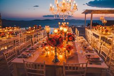 De Plan V » Sunset Opulent Grandeur @ Private Villa in Mykonos, candle lights, sea view, chandelier, chic, romantic, tiffany's chair, art de la table, summer