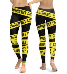 New+Caution+Wet+print+leggings  Available+in+size+XS-XL Fabric:+82%+polyester,+18%+spandex+ Imported+fabric+that's+printed,+cut,+and+sewn+in+California Four-way+stretch,+which+means+fabric+stretches+and+recovers+both+on+the+cross+and+lengthwise+grains Made+of+a+microfiber+yarn,+which+is+smo...