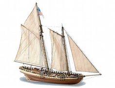 The Artesania Latina Virginia American Schooner wooden ship model accurately recreates the real life schooner built in 1819.