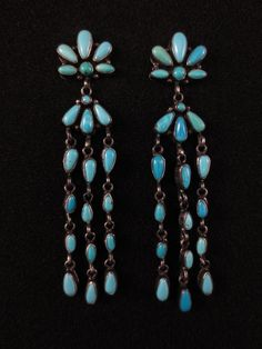 Vintage Navajo Earrings - Sterling Silver and Turquoise - Emma Lincoln
