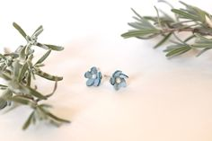 Small Forget-Me-Knot Blue Leather and Pearl Post Earrings Stainless Steel Earrings, Feminine Dress, Flower Fashion, Leather Jewelry, Knot, Forget, Cottage, Boutique, Pearls