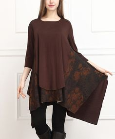 Another great find on #zulily! Brown & Rust Floral Sidetail Tunic by  #zulilyfinds