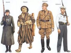World War II Uniforms - France - 1943 June, Ukraine, Private, French Volunteer Legion France - 1944 May, Italy, Goumier, French African troops Germany - 1939 May, Madrid, Pilot, Condor Legion Germany - 1939 Sep., Baltic Sea, Seaman, German Navy