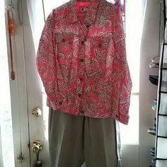 Outfit Linen salmon and taupe color jacket Khaki color jeans jacket Carol Little,  Jeans Lands End size 16 Jackets & Coats