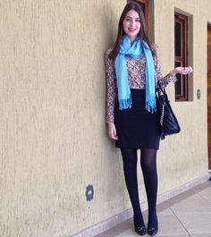 @lookbyus winter look trabalho work pencil black skirt scarpin scarf pashmina lenço azul blue