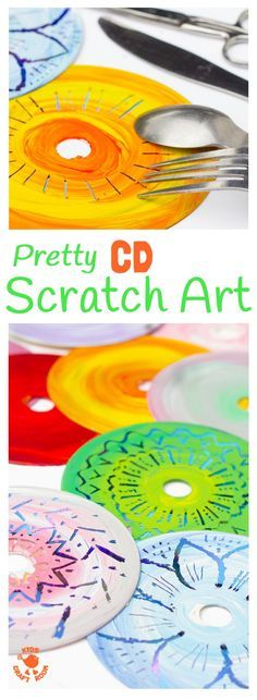 CD SCRATCH ART - Kids can have loads of fun with old CDs making vibrant Colourful CD Scratch Art. It's a fabulous recycled craft and process art opportunity for kids of all ages.