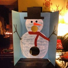 Snowman snowball toss for first grade winter party tomorrow! Styrofoam balls in a bucket! Less than $5 total!