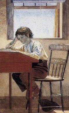 """""""Homework"""". Winslow Homer (American artist, 1836-1910)"""