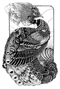 Peacock print done for phone booth gallery  2008  pen  Iain Macarthur