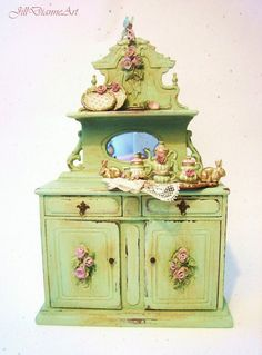 Archive Rabbits n Roses Shabby Cottage Chic Hutch with tiny Fairy - Jill Dianne Dollhouse Miniature