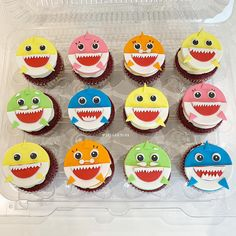 Baby Shark Cupcakes - Birthday Click the link to see how I made these toppers! Shark Birthday Cakes, 2nd Birthday Party For Girl, Baby Boy 1st Birthday Party, Boy Birthday Cupcakes, Birthday Ideas, Shark Cupcakes, Cupcakes For Boys, Shark Cake, Shark Party Decorations