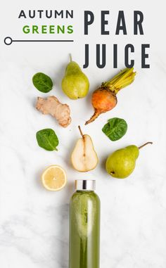 How to make a sweet and refreshing pear juice with fresh autumn veggies. A nutritious fall drink recipe! Juice Cleanse Recipes, Detox Smoothie Recipes, Weight Loss Smoothie Recipes, Healthy Juice Recipes, Superfood Salad, Healthy Juices, Healthy Smoothies, Detox Juices, Cleaning Recipes