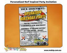 Nerf Inspired Birthday Party Invitation
