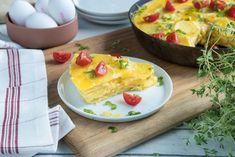 Sjekk fremgangsmetoden her. Eggs, Dinner, Breakfast, Recipes, Food, Spanish Omelette, Food Cakes, Omelette, Dining