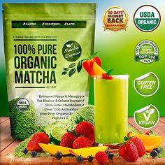 Organic Matcha Green Tea Powder Extract - 100% USDA Organic - Fat Burner & Weight Loss Diet Supplement - Energy & Mental Focus Booster - Lattes, Smoothies Shakes and Baking Mix - Gluten Free, Vegan Superfood - Amino Acid L-Theanine & Antioxidants - FREE Top 100 Matcha Recipe Ebook - http://teacoffeestore.com/organic-matcha-green-tea-powder-extract-100-usda-organic-fat-burner-weight-loss-diet-supplement-energy-mental-focus-booster-lattes-smoothies-shakes-and-baking