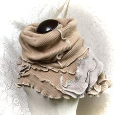 Upcycled Cotton Hood Collar, Poncho, Shawl, Scarf, Beige Cotton Knit, #C165 by danamurphydesigns on Etsy