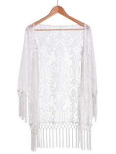 SHARE & Get it FREE | Tassels Spliced Lace White Sunscreen Blouse - WhiteFor Fashion Lovers only:80,000+ Items • New Arrivals Daily Join Zaful: Get YOUR $50 NOW!