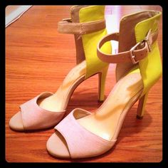 Gianni Bini heels Fabulous neon yellow and tan suede heels! Show some wear and have some sticky residue on the sole from a cushion insert but doesn't effect the wear at all! *******absolutely no trades!!!!!***** Gianni Bini Shoes Heels