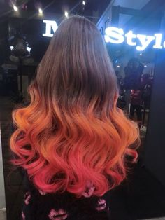 Hair inspiration. Brown with Red/orange dip dye