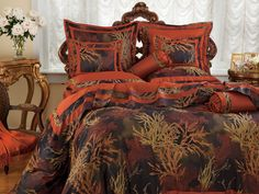 Coral Reef - Luxury Bedding - Italian Bed Linens - As wondrous as rare coral species in the ocean�s depths, dramatic damask of 500 thread count Egyptian cotton shows magnificent depths of color and design