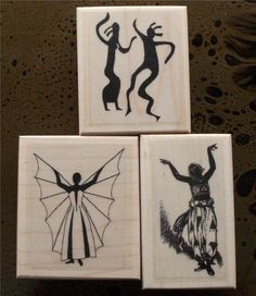 Lot of 3 New Mounted Rubber Stamp - DANCERS, GODDESS, PETROGLYPH #handmade #abracadabrastamps
