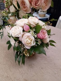 Pink and gold centerpiece.