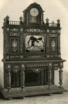 Piece of ebony furniture, encrusted in ivory, Renaissance style, by Hunsinger, 1867 Universal Exhibition.
