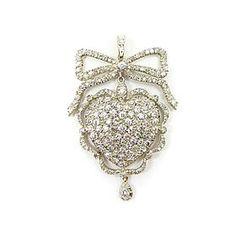 Antique diamond cluster heart pendant, c.1900
