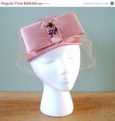 Valentines Pink Pink Satin Hat Vintage 1960s by Flourisheshome