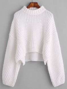 Pull col montant manche lanterne - blanc