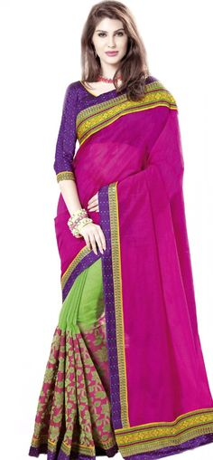 Deep pink and green cotton jacquard saree: KSR2527