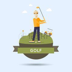 Hombre jugando al golf. Ilustraci�n vectorial de estilo Flat. photo