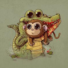 animais predadores ilustrações alex solis