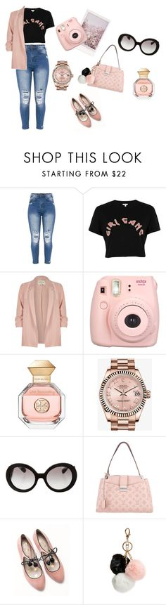 """""""Classy Pink but fun look"""" by naliasako ❤ liked on Polyvore featuring River Island, Fujifilm, Tory Burch, Rolex, Prada, Louis Vuitton, Boden and GUESS"""