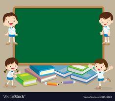 Children and chalkboard vector image on VectorStock Teacher Cartoon, Student Cartoon, Flower Background Wallpaper, Cartoon Background, Creative Writing For Kids, School Border, Chalkboard Vector, Powerpoint Background Design, Kindergarten Design