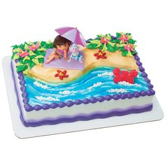 This beach design, but with Mermaid Barbie on top and hot pink icing on edges.