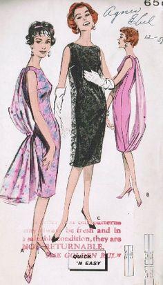 Vintage Fashion Library - Vintage 50s Sheath Dress Lace Overdress Attached Flyaway Panel Pattern Butterick 8781 B32