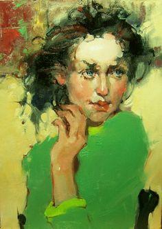 """Far Away Look"" Kim Roberti's 5x7 contemporary realism oil figure portrait of a brunet., painting by artist Kim Roberti"