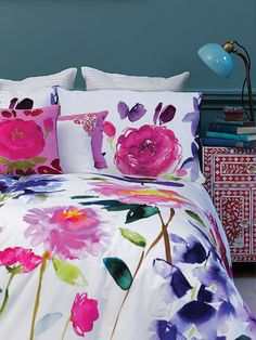 Feel good watercolour designs from bluebellgray. Bring colour and design into your life with modern and abstract floral bedding, cushions, fabric & home accessories by Scottish designer Fiona Douglas. Floral Bedding, Cotton Bedding, Linen Bedding, Bedding Sets, Bed Linens, Bluebellgray, Bright Homes, Quilt Cover, Bedroom Decor