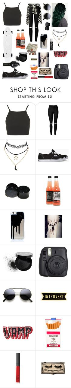 """Skating in the summer"" by that1emogrl ❤ liked on Polyvore featuring Topshop, Vans, Bobbi Brown Cosmetics, Fuji, Chapstick, Kreepsville 666, Moschino, NARS Cosmetics and Hot Topic"