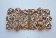Fabulous Vintage Two Piece Copper Plated Brass Dress Buckle. Red Stone Trim.  Filigree Ornate OneWomanRepurposed B336 by OneWomanRepurposed on Etsy